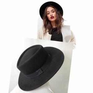 Black Fedora wide brim felt wool hat